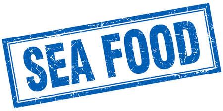 sea food: sea food blue square grunge stamp on white
