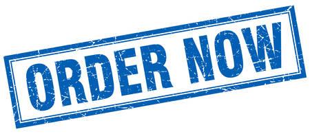 order now: order now blue square grunge stamp on white Illustration