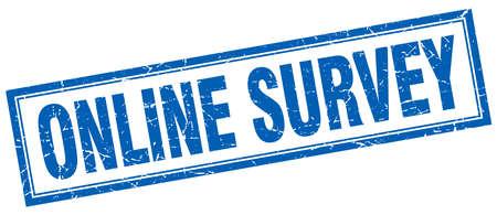 online survey: online survey blue square grunge stamp on white