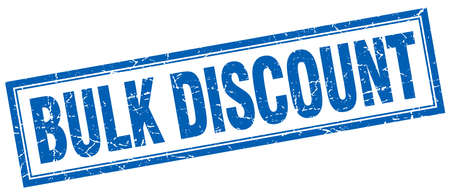 bulk: bulk discount blue square grunge stamp on white Illustration