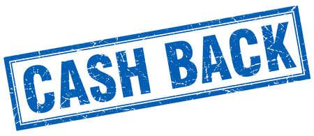cash back: cash back blue square grunge stamp on white