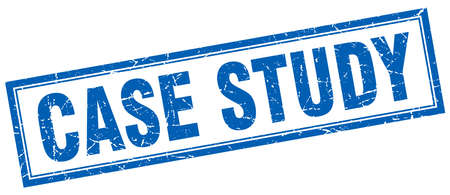 case study: case study blue square grunge stamp on white