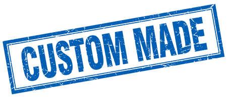 custom made: custom made blue square grunge stamp on white