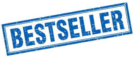 bestseller: bestseller blue square grunge stamp on white