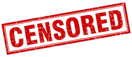censored: censored red square grunge stamp on white