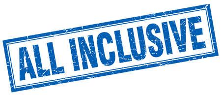 inclusive: all inclusive blue square grunge stamp on white