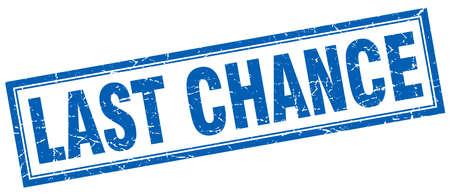 last chance: last chance blue square grunge stamp on white Illustration