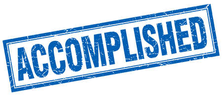 accomplish: accomplished blue square grunge stamp on white Illustration