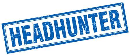headhunter: headhunter blue square grunge stamp on white