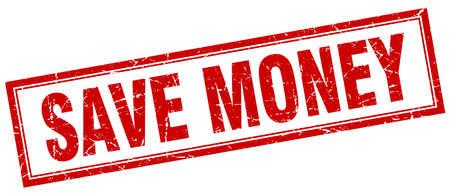 save money: save money red square grunge stamp on white Illustration