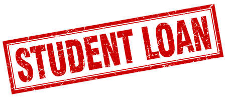 student loan: student loan red square grunge stamp on white Illustration
