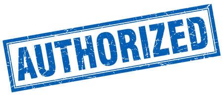 authorized: authorized blue square grunge stamp on white