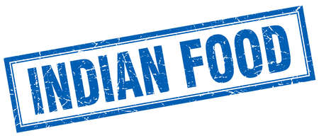 indian food: indian food blue square grunge stamp on white
