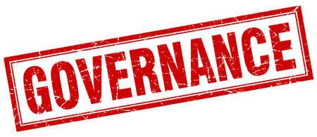 governance: governance red square grunge stamp on white