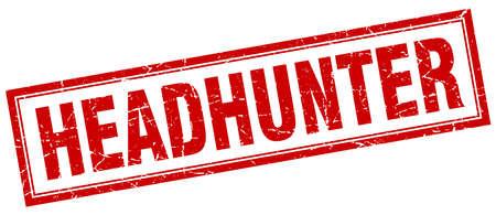 headhunter: headhunter red square grunge stamp on white