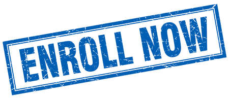 enroll: enroll now blue square grunge stamp on white