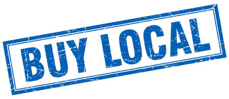buy local: buy local blue square grunge stamp on white