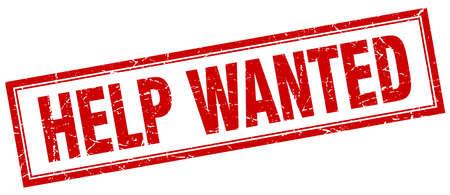 help wanted sign: ayuda quer�a cuadrado rojo del sello del grunge en blanco