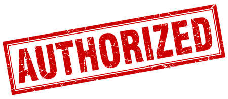 authorized: authorized red square grunge stamp on white