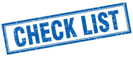 check list: check list blue square grunge stamp on white Illustration