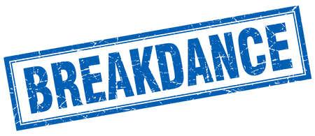 breakdance: breakdance blue square grunge stamp on white