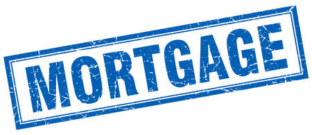 mortgage: mortgage blue square grunge stamp on white