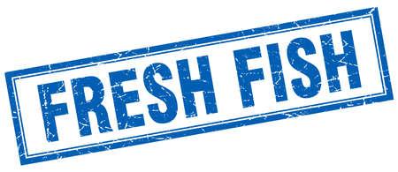 fresh fish: fresh fish blue square grunge stamp on white