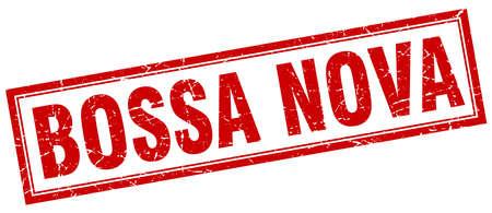 nova: bossa nova red square grunge stamp on white