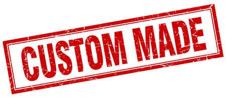 custom made: custom made red square grunge stamp on white