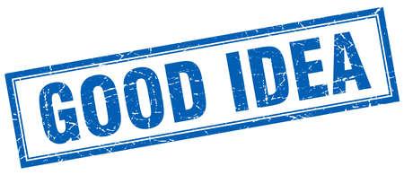 good idea: good idea blue square grunge stamp on white Illustration