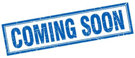 coming soon blauw vierkant grunge stempel op wit