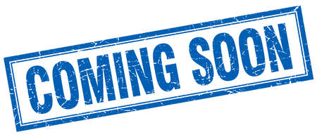 coming soon blue square grunge stamp on white