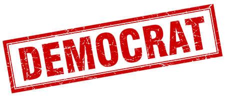 democrat: democrat red square grunge stamp on white