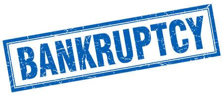 bankruptcy: bankruptcy blue square grunge stamp on white