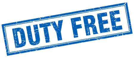 duty: duty free blue square grunge stamp on white