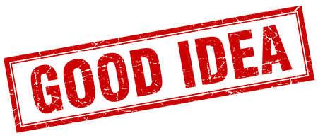 good idea: good idea red square grunge stamp on white