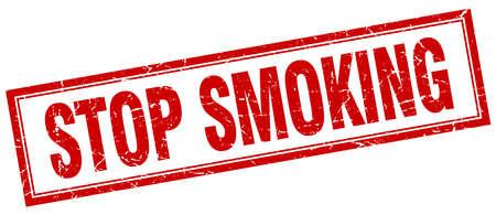 stop smoking: stop smoking red square grunge stamp on white