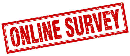 online survey: online survey red square grunge stamp on white Illustration