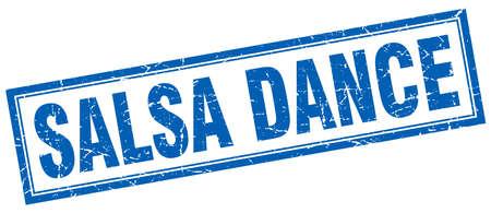 salsa dance: salsa dance blue square grunge stamp on white