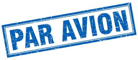par avion: par avion blue square grunge stamp on white