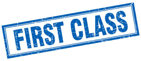 first class: first class blue square grunge stamp on white Illustration