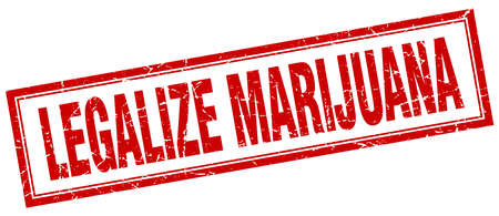 legalize: legalize marijuana red square grunge stamp on white Illustration