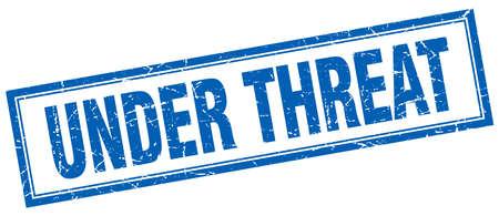 threat: under threat blue square grunge stamp on white