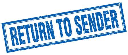 sender: return to sender blue square grunge stamp on white