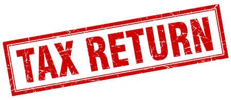 tax return: tax return red square grunge stamp on white Illustration