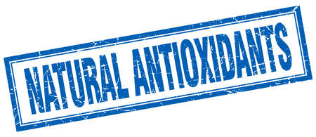 antioxidants: natural antioxidants blue square grunge stamp on white