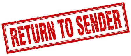 sender: return to sender red square grunge stamp on white