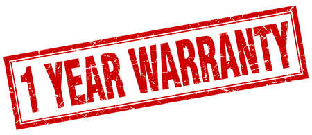 1 year warranty: 1 year warranty red square grunge stamp on white