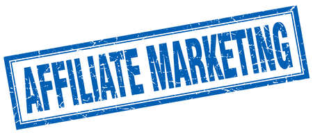 affiliate marketing: affiliate marketing blue square grunge stamp on white