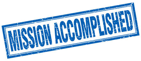 accomplish: mission accomplished blue square grunge stamp on white